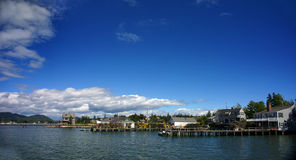 Panorama - Lobster traps on wharf, harbor Royalty Free Stock Image