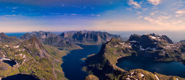 Panorama of Lofoten islands Royalty Free Stock Photo