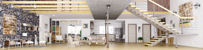 Panorama of loft apartment interior 3d rendering Stock Photos