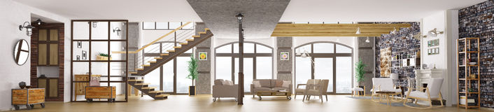 Panorama of loft apartment interior, living room 3d rendering Stock Photography