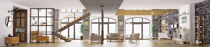 Panorama loft mieszkania wnętrze, żywy pokoju 3d rendering ilustracja wektor