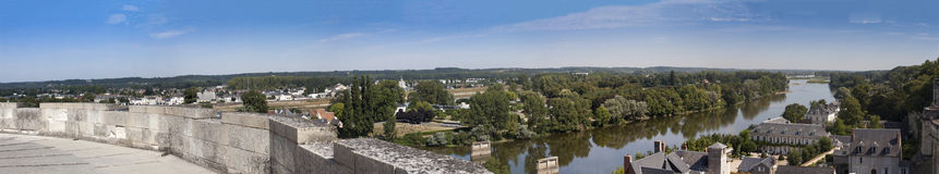 Panorama of Loire River from Amboise Chateau. Panoramic view of the Loire river looking east  towards the pont Michel Debré taken from a medieval tower in the Stock Photo