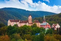 Panorama of Loket castle and town Royalty Free Stock Image