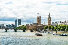 Panorama of London - Parliament and Big Ben. Image was taken on August 2013 Stock Photography