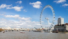 Panorama of London Eye Stock Photos