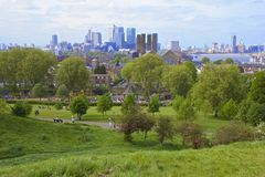 Panorama of London from Greenwich Stock Image