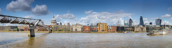 London panorama with Millenium Bridge on Thames river Royalty Free Stock Image