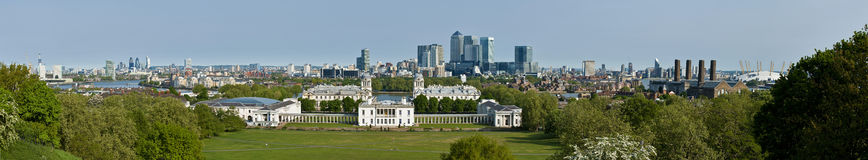 Panorama of London and Isle of Dogs from Greenwich Royalty Free Stock Image