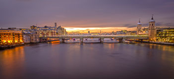 Panorama of London from London Bridge at Sunset Royalty Free Stock Images