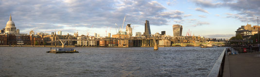Panorama of London Thames Riverside Royalty Free Stock Images