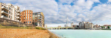 Panorama of London Thames from the shore Royalty Free Stock Photos