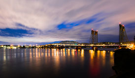 Panorama of Long Bridge I-5 Columbia River in Night Lights Royalty Free Stock Image