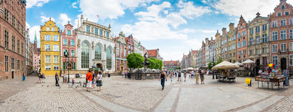 Panorama of long street in Gdansk, Poland, Europe. Royalty Free Stock Photography