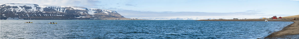 Panorama of Longyearbyen fjord in summer, Svalbard Royalty Free Stock Photos