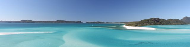A panorama looking across Hill Inlet to Whitehaven Beach Royalty Free Stock Photography