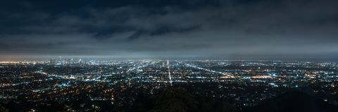 Panorama of Los angeles cityscape at night royalty free stock image