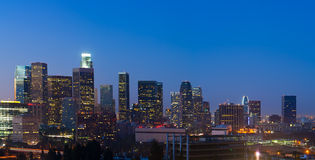 Panorama of  Los Angeles Skyline Before Dawn. Los Angeles skyline before dawn with building identifications removed Royalty Free Stock Photos