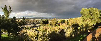 Panorama of Los Angeles on a Stormy Day Stock Photo