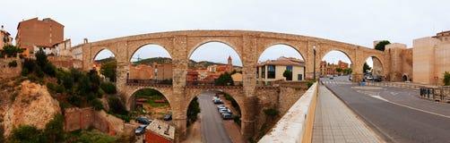 Panorama of Los Arcos aqueduct. Teruel Stock Photo