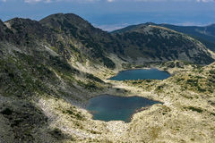 Panorama a los lagos Musalenski del pico de Musala, montaña de Rila Foto de archivo libre de regalías