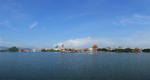 Panorama of the Lotus Lake in Kaohsiung, Taiwan. Beautiful panoramic view of the Lotus Lake in Kaohsiung, Taiwan Royalty Free Stock Photo