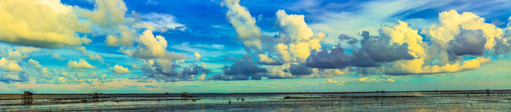 Panorama of low tide sea. Royalty Free Stock Photo