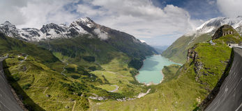 Panorama of lower Kaprun dam 2, Stauseen, Austria Royalty Free Stock Images