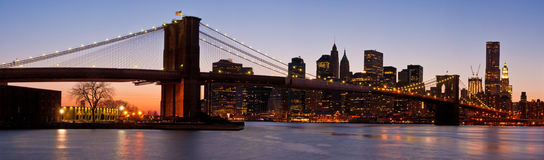 Panorama of Lower Manhattan and Brooklyn Bridge Stock Images