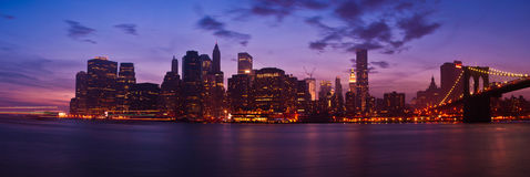 Panorama of Lower Manhattan and Brooklyn Bridge Royalty Free Stock Images