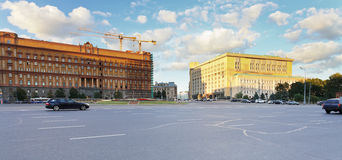Panorama of Lubyanka Square in Moscow Stock Images