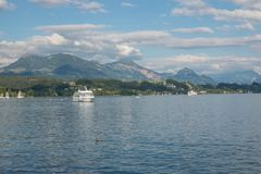 Panorama of Lucerne lake and mountains scene in Lucerne, Switzerland stock photos