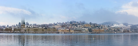 Panorama of Lucerne in the winter, Switzerland Royalty Free Stock Images