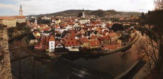 Panorama Luchtmening van Cesky Krumlov, de Unesco-plaats van de werelderfenis, Tsjechische Republiek stock foto's