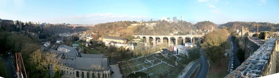 Panorama of Luxembourg. A stitched, panoramic view of parts of Luxembourg Stock Photos