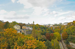Luxembourg city in autumn. Panorama of Luxembourg city in autumn cloudy day Royalty Free Stock Photos