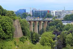 Panorama of Luxembourg city. Bridge and panorama of Luxembourg city Royalty Free Stock Images