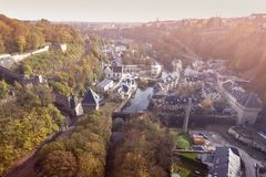 Panorama of Luxembourg City. At sunset. Luxembourg City, Luxembourg Stock Images