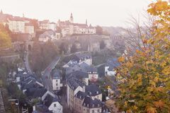 Panorama of Luxembourg City at sunset. Luxembourg City, Luxembourg Royalty Free Stock Image