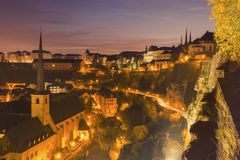Panorama of Luxembourg City at sunset. Luxembourg City, Luxembourg Stock Photography