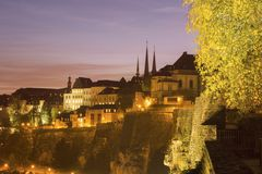 Panorama of Luxembourg City at sunset. Luxembourg City, Luxembourg Royalty Free Stock Images