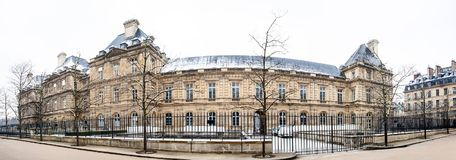 Panorama of the Luxembourg Palace in a winter day. Panorama of the Luxembourg Palace in a freezing winter day royalty free stock image
