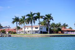 Panorama of a Luxury beach house with boat dock Royalty Free Stock Images