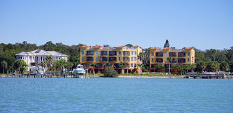 Panorama of Luxury beach house with boat dock Stock Images
