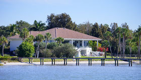 Panorama of Luxury beach house with docking Royalty Free Stock Images