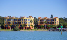 Panorama of Luxury beach house with docking. In the tampa bay, Florida Royalty Free Stock Image