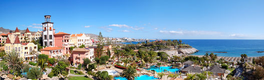Panorama of luxury hotel and Playa de las Americas Royalty Free Stock Image