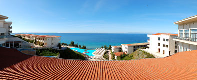 Panorama of the luxury hotel with swimming pool Royalty Free Stock Image