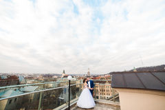 The panorama of the Lviv. The hugging newlywed couple on the roof. Stock Image