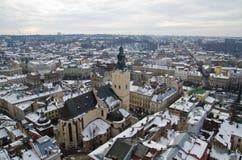 Panorama Lviv od wzrosta Obrazy Stock