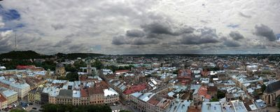 Panorama Lviv. Panorama from the roof of Lviv City hall Stock Photography